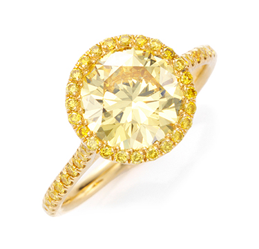 A Fancy Deep Yellow Diamond Ring of 2.20 carats