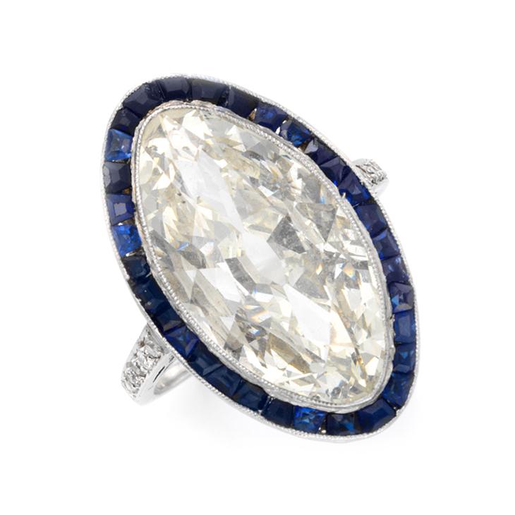 An Art Deco Marquise-cut Diamond Ring