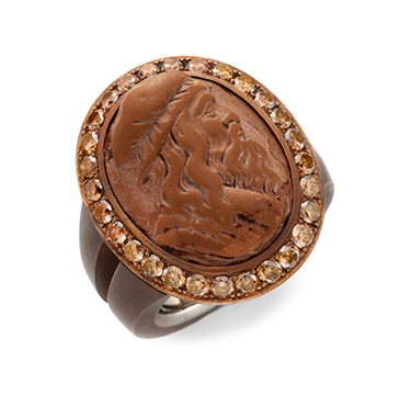 French 19th Century Agate Cameo and Colored Diamond Ring, by Hemmerle