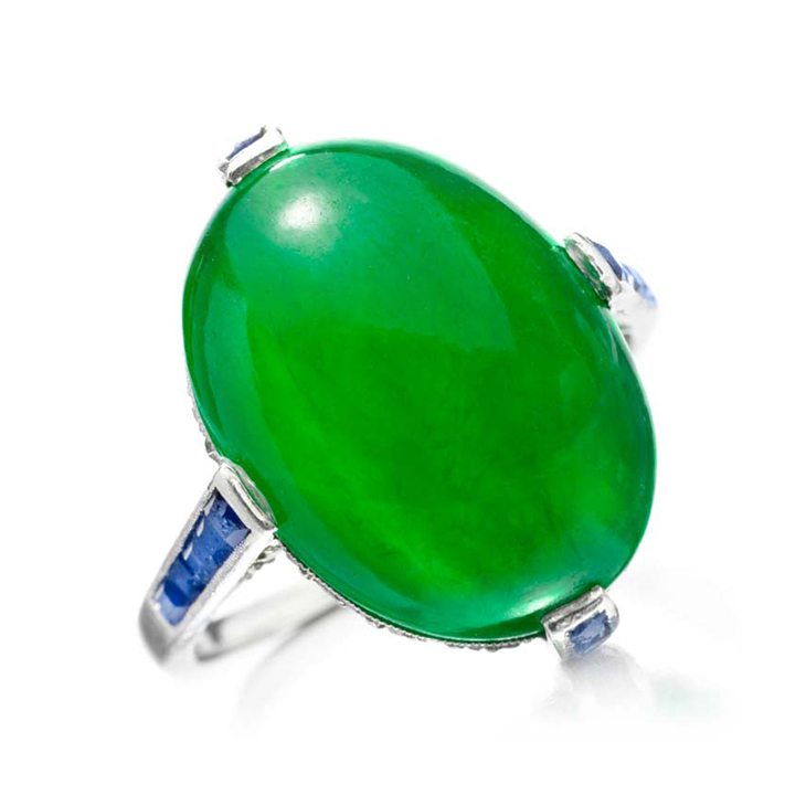 An Art Deco Jade, Sapphire and Diamond Ring, by Dreicer