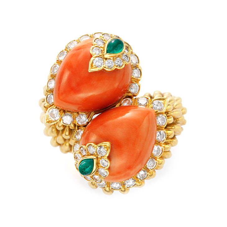A Coral, Emerald and Gold Ring, by David Webb, circa 1967