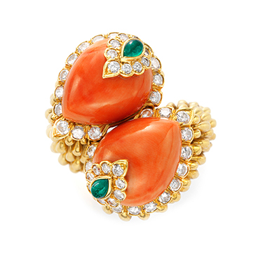 A Coral, Emerald and Gold Ring, by David Webb, circa 1967