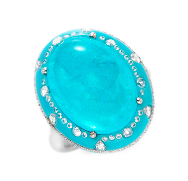 A Paraiba Tourmaline, Turquoise and Diamond Ring, by Chopard