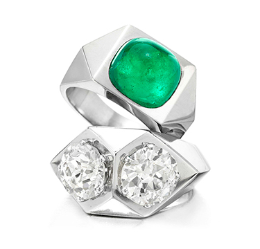 A Pair of Emerald and Diamond Rings, by Suzanne Belperron