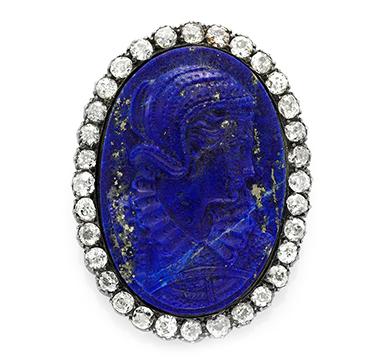 A Carved Lapis Lazuli and Diamond Cameo Pin, circa 19th Century