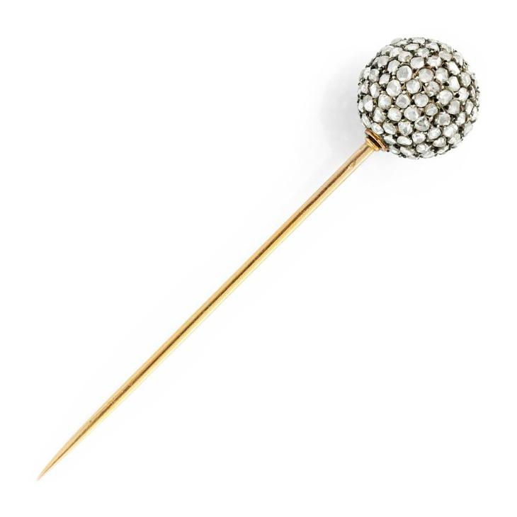 An Antique Rose-cut Diamond and Gold Stick Pin, circa 19th Century