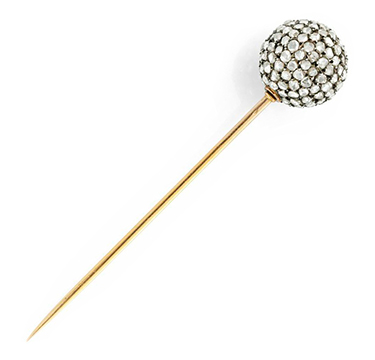 An Antique Rose-cut Diamond and Gold Stick Pin, circa 19th Century