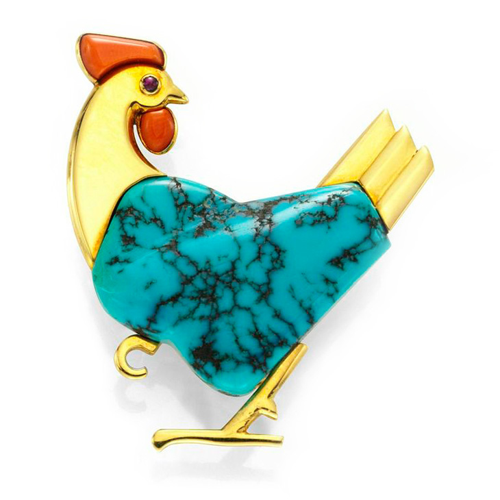 A Multi-gem and Diamond Rooster Brooch, by Marchak, circa 1950