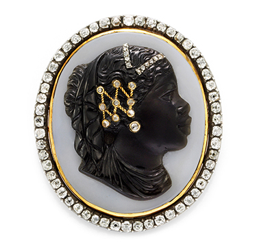 An Antique Carved Shell and Diamond Cameo, 19th Century