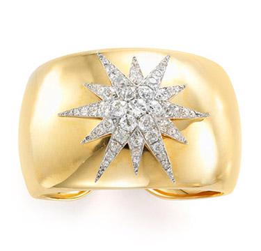 A Gold and Diamond Starburst Cuff Bracelet, by Verdura