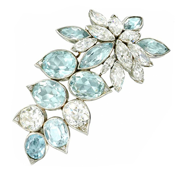 An Aquamarine and Diamond Brooch, by Suzanne Belperron, circa 1940