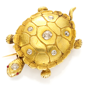An Antique Gold and Diamond Turtle Brooch