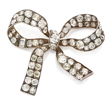 An Antique Diamond Bow Brooch, 19th Century