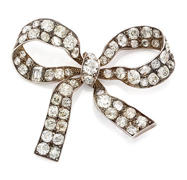An Antique Diamond Bow Brooch, 19th Century
