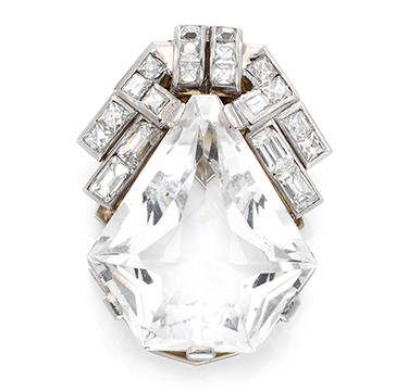 An Art Deco Rock Crystal and Diamond Clip Brooch, circa 1920