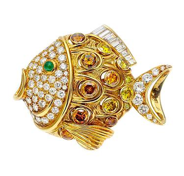 A Multi-colored Diamond Fish Brooch, by Rene Boivin