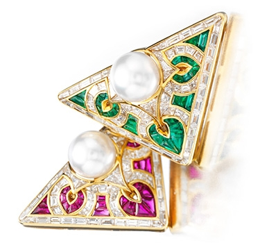 A Pair Of Emerald, Ruby, Cultured Pearl And Diamond 'Carre' Brooches, By Bulgari