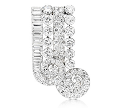 A Diamond And Platinum Brooch, By John Rubel