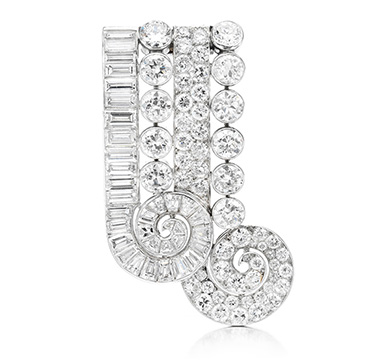 A Diamond and Platinum Brooch, by John Rubel