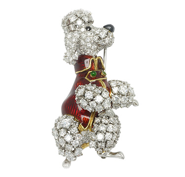 An Enamel and Diamond Poodle Brooch, by Verdura