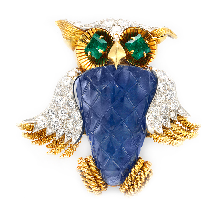 A Sapphire, Emerald and Diamond Owl Brooch, by David Webb