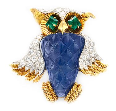 A Sapphire, Emerald and Diamond Owl Brooch, by David Webb