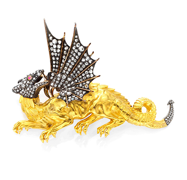 An Antique Diamond, Ruby and Gold Dragon Brooch, circa 1850