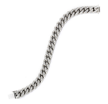 A White Gold And Diamond Chain Link Bracelet, circa 1940