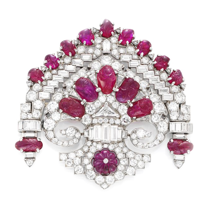 A French Art Deco Ruby and Diamond 'Stomacher' Brooch, circa 1930