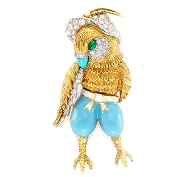 A Multi-Gem, Enamel And Gold 'Chicken Little' Brooch, By Donald Claflin For Tiffany & Co.