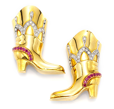 A Pair of Ruby, Diamond and Gold 'Boots' Clips, by Flato