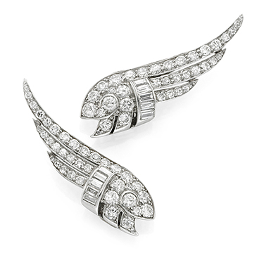 A Pair of Diamond and Platinum Wing Ear Clips, circa 1935