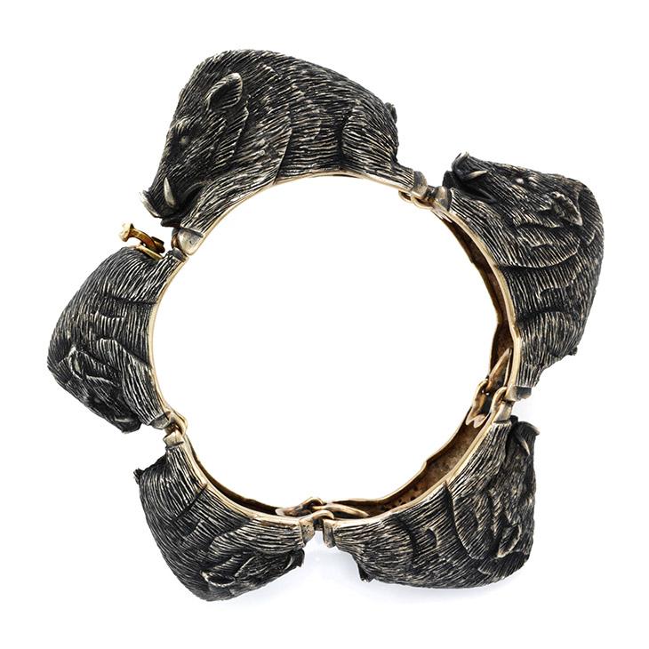 A Silver and Gold Boars Bracelet, by Serafini, circa 1960