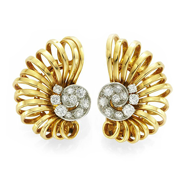 A Pair of Retro Gold and Diamond Scroll Ear Clips, by Boucheron, circa 1940