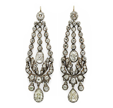 A Pair of Georgian Diamond Ear Pendants, circa 1820