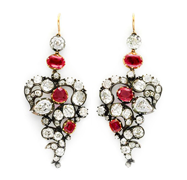 A Pair of Antique Burmese Ruby and Diamond Ear Pendants, circa 19th Century