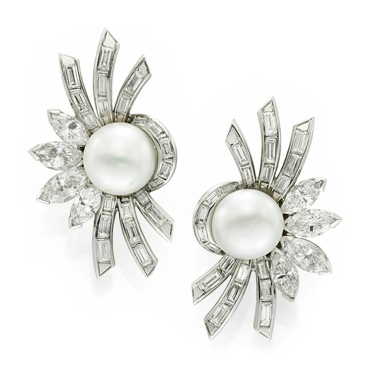 A Pair of Natural Pearl and Diamond Spray Ear Clips, circa 1950