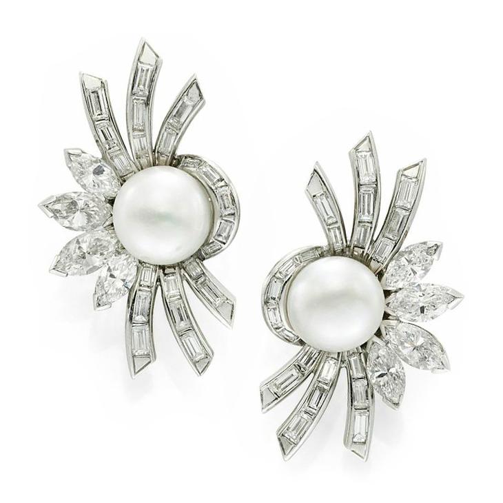 A Pair of Natural Pearl and Diamond Spray Ear Clips, circa 1950