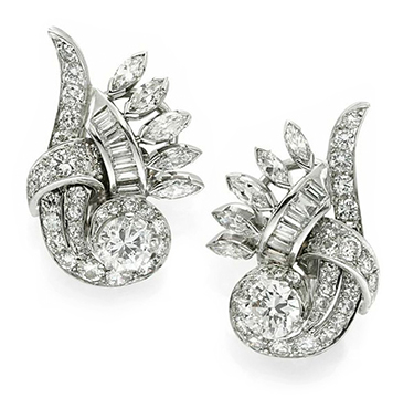 A Pair of Retro Diamond and Platinum Scroll Ear Clips, circa 1945