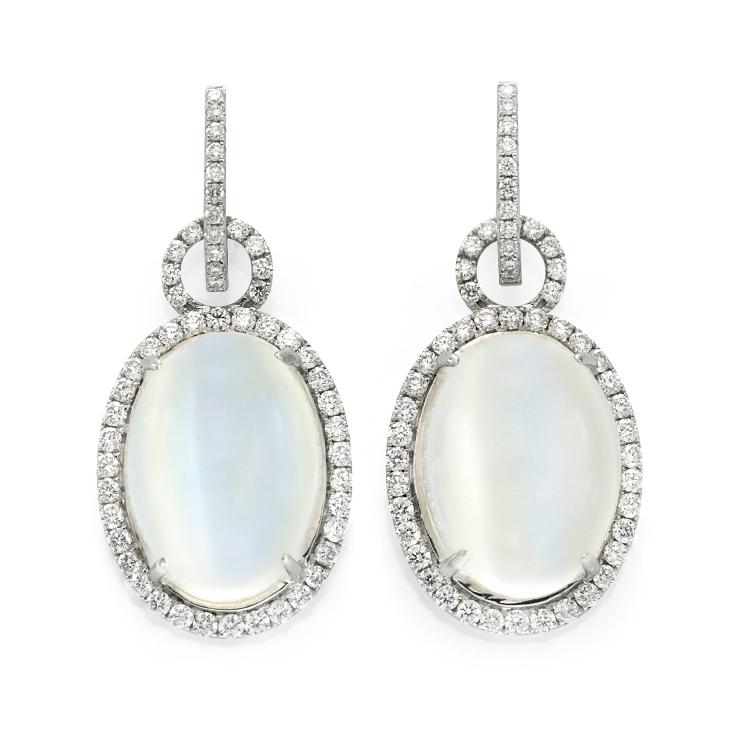 A Pair of Moonstone and Diamond Ear Pendants