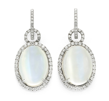 A Pair Of Moonstone And Diamond Ear Pendants