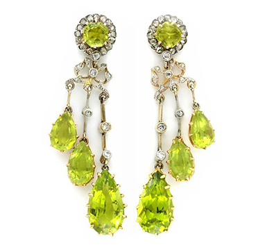 A Pair of Antique Peridot and Diamond Ear Pendants, circa 1900