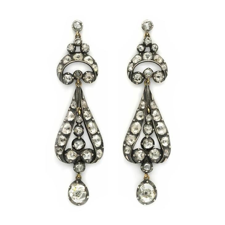 A Pair of Rose-cut Diamond Ear Pendants, circa 19th Century