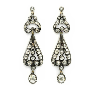 A Pair of Rose-cut Diamond Ear Pendants, circa 19th Century