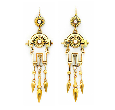 A Pair of Antique Gold, Enamel and Seed Pearl Ear Pendants, circa 19th Century