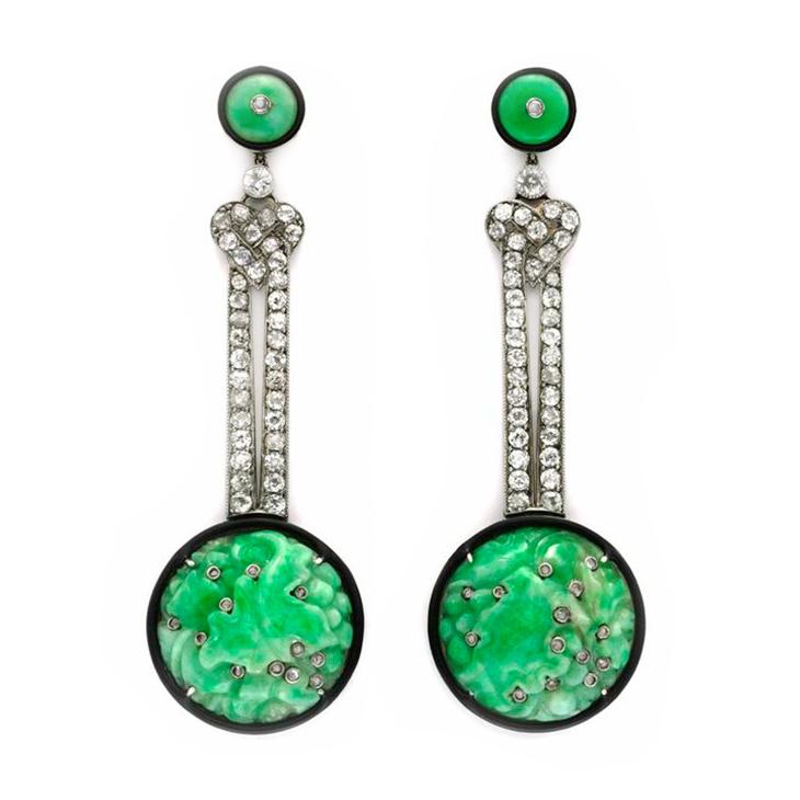 A Pair of Art Deco Carved Jade, Enamel and Diamond Ear Pendants, circa 1925