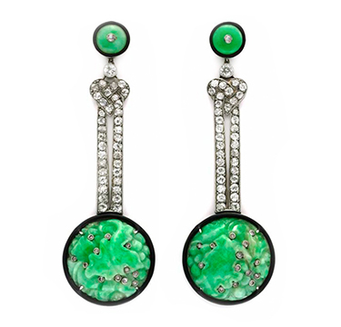 A Pair of Art Deco Carved Jade, Enamel and Diamond Ear Pendants, circa 1925