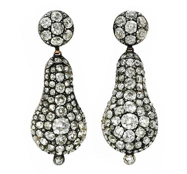 A Pair Of Georgian Diamond And Rock Crystal Ear Pendants, Circa 1820