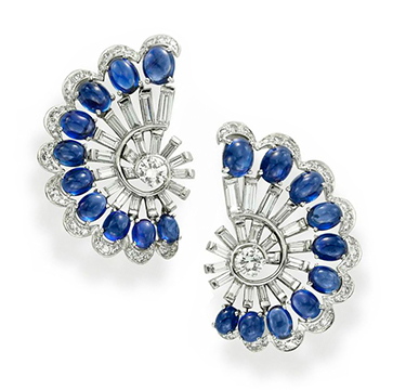 A Pair of Sapphire and Diamond Ear Clips, by Meister, circa 1950