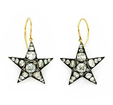 A Pair Of Diamond Star Ear Pendants